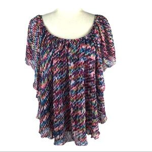 Cato Printed Flutter Top